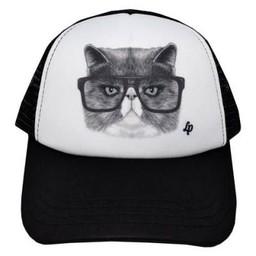 L&P L&P - Casquette Chat Choqué/Angry Cat Cap, Noir/Black