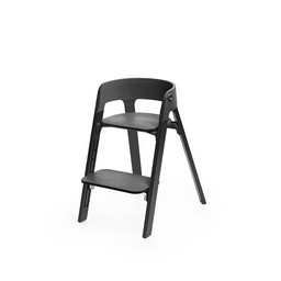 Stokke Stokke Steps - Chaise Haute Complète/Complete High Chair, Pieds en Chêne Noir et Siège Noir/Oak Black Legs and Black Seat