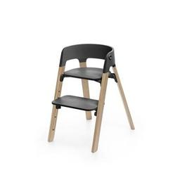 Stokke Stokke Steps - Chaise Haute Complète/Complete High Chair, Pieds Chêne Naturel et Siège Noir/Natural Oak Legs and Black Seat