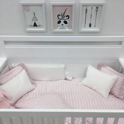 Bouton Jaune Bouton Jaune - Brise de Mer Crib Duvet Cover, Pink and White