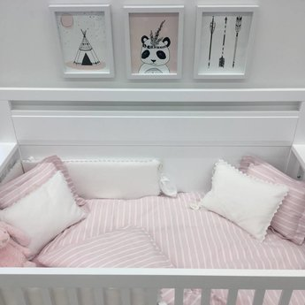 Bouton Jaune Bouton Jaune - Housse de Couette Lit de Bébé, Brise de Mer/Brise de Mer Crib Duvet Cover, Rose et Blanc/Pink and White