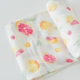 Little Unicorn Couverture en Bambou à l'Unité de Little Unicorn/Little Unicorn Bamboo Muslin Single Swaddle, Pamplemousse/Grapefruit