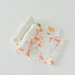 Little Unicorn Little Unicorn - Paquet de 2 Couvertures en Mousseline de Bambou/Bamboo Muslin Swaddle 2 Pack, Pink Ladies