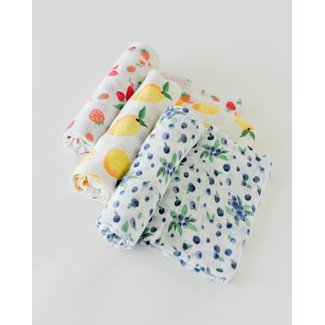 Little Unicorn Little Unicorn - Cotton Muslin Swaddle 3 Pack, Berry Lemonade