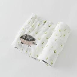 Little Unicorn Little Unicorn - Couverture en Bambou à l'Unité/Single Bamboo Muslin Blanket, Hérisson/Hedgehog