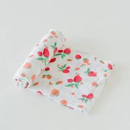 Little Unicorn Little Unicorn - Couverture en Mousseline de Coton à l'Unité/Single Cotton Muslin Blanket, Strawberry