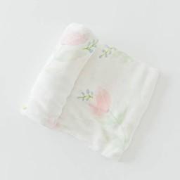 Little Unicorn Little Unicorn - Couverture en Bambou à l'Unité/Single Bamboo Muslin Blanket, Pink Peony