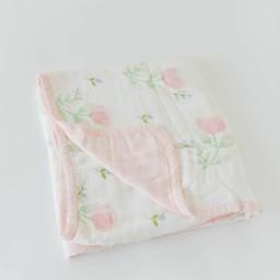 Little Unicorn Little Unicorn - Couette Deluxe en Mousseline de Bambou/Deluxe Bamboo Muslin Quilt, Pivoine Rose/Pink Peony