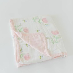 Little Unicorn Little Unicorn - Deluxe Bamboo Muslin Quilt, Pink Peony