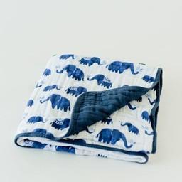 Little Unicorn Couette en Mousseline de Coton de Little Unicorn/Little Unicorn Cotton Quilt, Éléphant D'inde/Indie Elephant