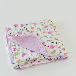 Little Unicorn Couette en Mousseline de Coton de Little Unicorn/Little Unicorn Cotton Quilt, Baies et Fleurs/Berry and Bloom