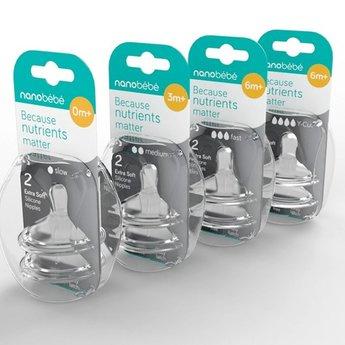 nanobébé Nanobébé - Tétines de Remplacement en Silicone/Silicone Nipples Twin-Pack, Débit Lent/Slow Flow