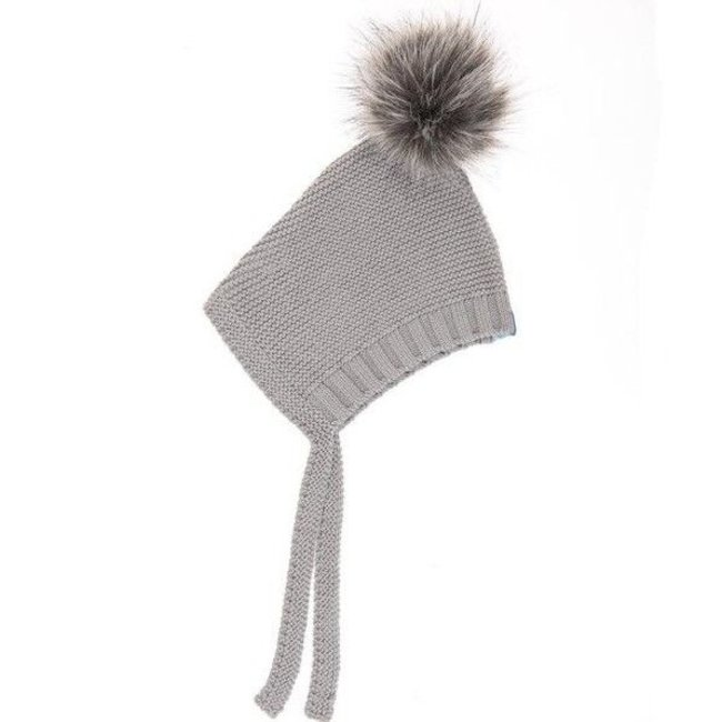 Beba Bean Beba Bean - Crochet Knit Pompom Hat, Grey