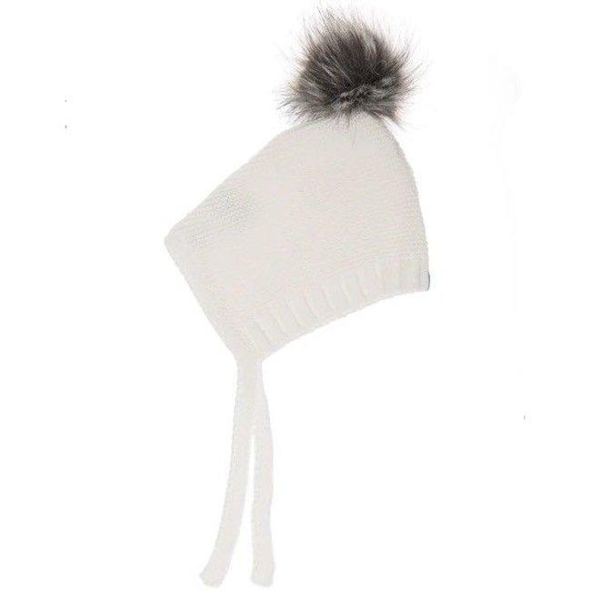 Beba Bean Beba Bean - Crochet Knit Pompom Hat, Ivory