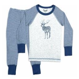 Coccoli Coccoli - Pyjama 2 Pièces en Coton Côtelé/Cotton Rib 2 Pieces Pajama, Rayé Bleu Bijou Gris/Bijou Blue Grey Stripe