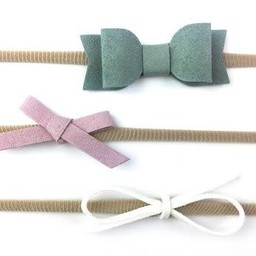 Baby Wisp Baby Wisp - Paquet de Bandeaux avec Boucles Mia/3 Pack Faux Suede Mixed Bows Gift Sets, Blanc, Lilas et Vert/White, Lilac and Green