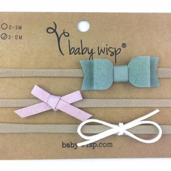 Baby Wisp Baby Wisp - Paquet de 3 Bandeaux avec Boucles Mia/3 Pack Faux Suede Mixed Bows Gift Sets, Blanc, Lilas et Vert/White, Lilac and Green
