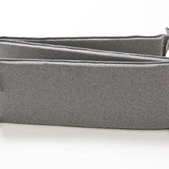 Bouton Jaune Bouton Jaune - Demi-Bordure de Lit en Coton Organique, Mon Petit Loup/Mon Petit Loup Bed Half Bumper, Gris/Grey