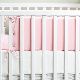 Bouton Jaune *Demi-Bordure de Lit en Coton Organique, Mon Petit Loup de Bouton Jaune/Bouton Jaune Mon Petit Loup Bed Half Bumper, Rose/Pink