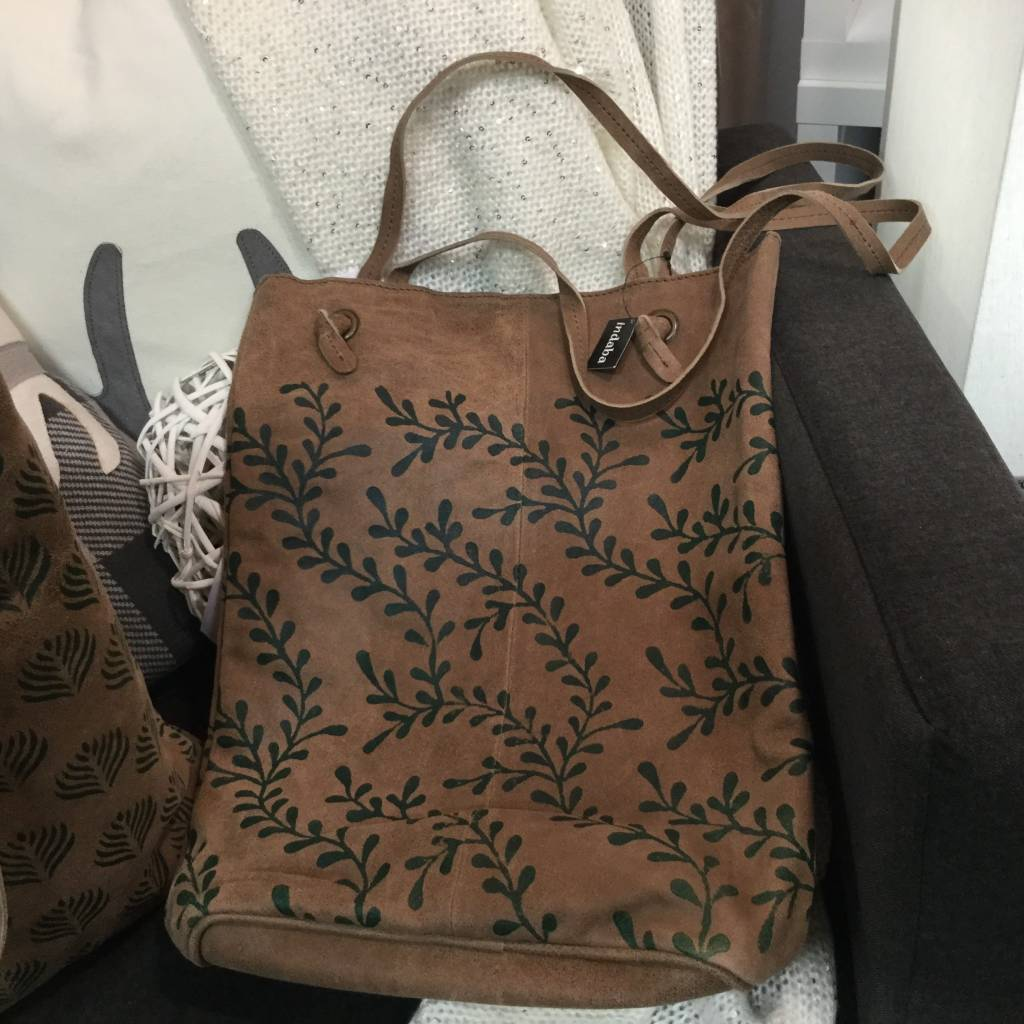BLOCK PRINT LEATHER TOTE