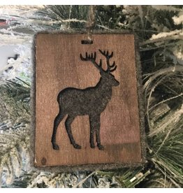 GREY FELT AND WOOD DEER