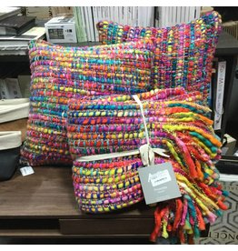 MULTI COLORED CUSHION AND THROW