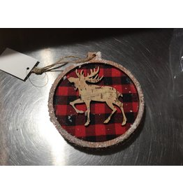 PLAID WOODEN ORNAMENT