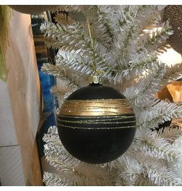 BLACK AND GOLD GLASS BAUBLE