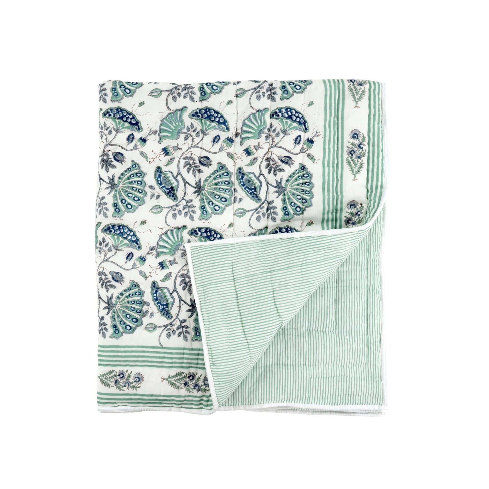 BLOCK PRINT QUILTED THROW