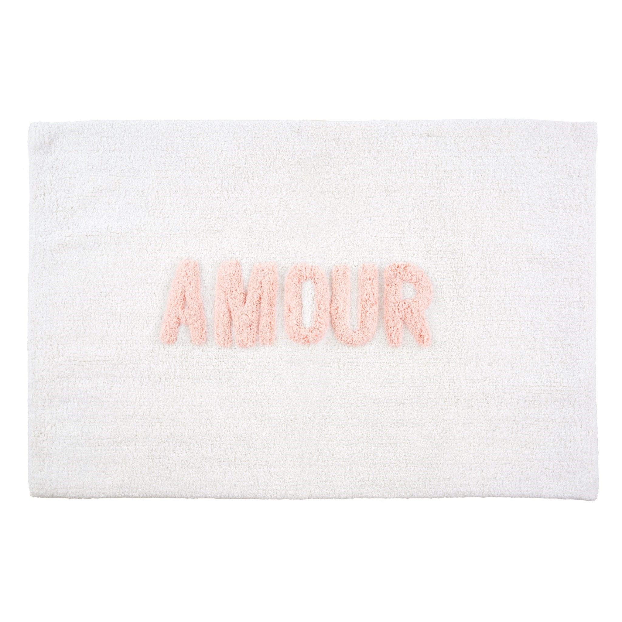 WHITE AND PINK BATH MAT