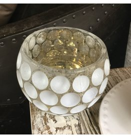 WHITE DOTS CANDLE HOLDER