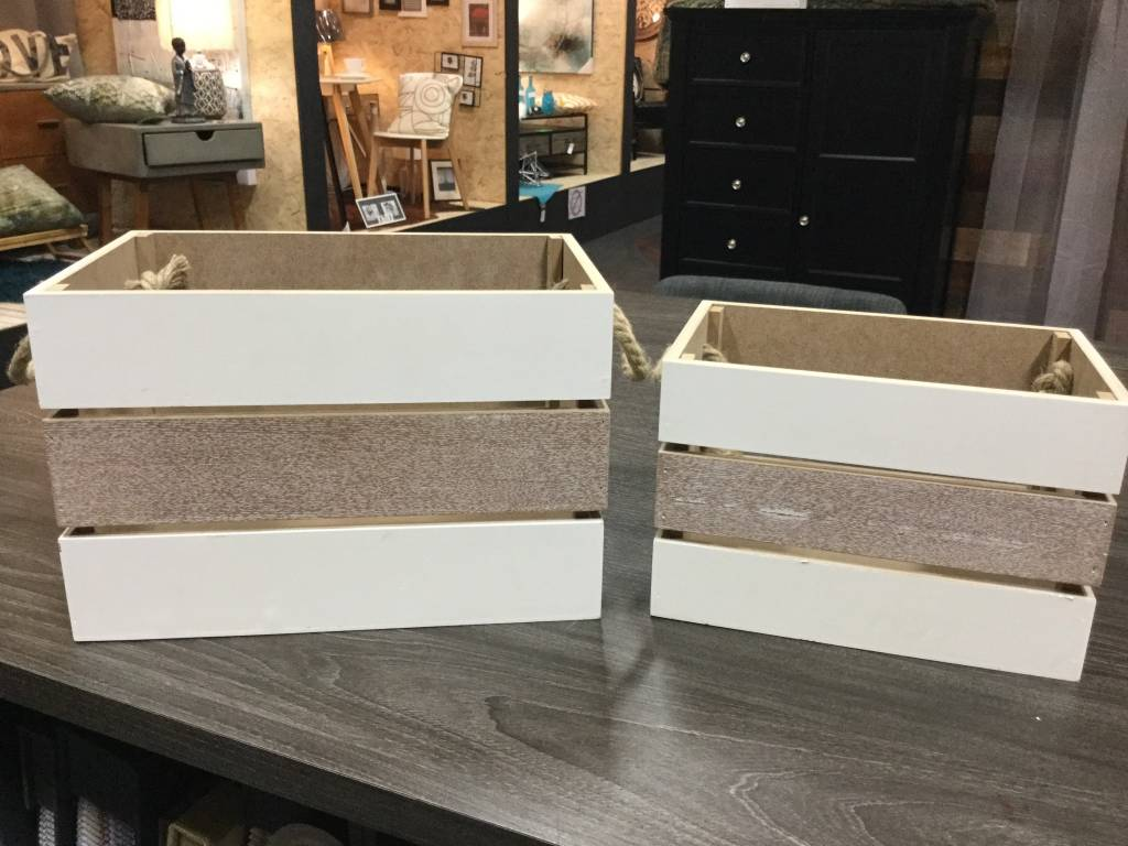 2 WOODEN STORAGE BASKETS
