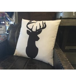 BLACK ON WHITE DEER PILLOW