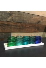 BLUE-GREEN CANDLE HOLDERS TRAY