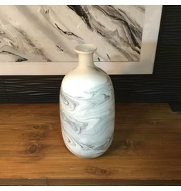 SWIRL GLASS VASE IN GREY