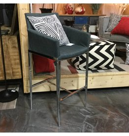 GREY AND CHROME BAR STOOL
