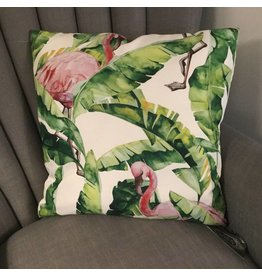 COUSSIN FEUILLAGE ET FLAMANDS ROSES