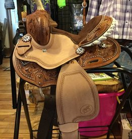 "10"" Youth Barrel Saddle, Brown Roughout, FQHB"