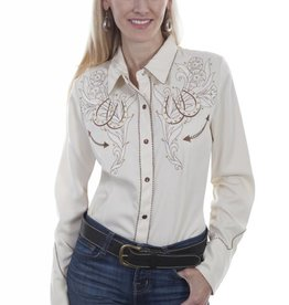 Scully Leather Women's Scully Roses and Horseshoes Embroidered Shirt