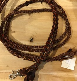 Circle L Round Braided Leather Split Reins D. Oil - 7' with Snap Ends