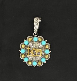 Pendant - Concho with Praying Cowboy and Turquoise Accents