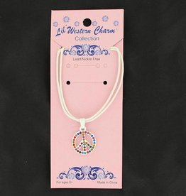 Necklace - Children's with Crystal Peace Sign