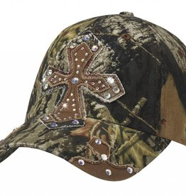 Ball Cap - Mossy Oak with Crystal Cross