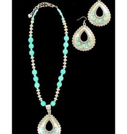 Set - Necklace/Earrings Silver Teardrop with Turquoise Accents