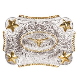 Nocona Belt Buckle - Youth Rope Edge with Stars and Long Horn
