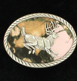Nocona Belt Buckle - Jumping Buck on Pink Mossy Oak