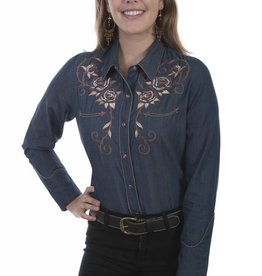 Scully Leather Women's Scully Steer Skull Embroidered Shirt