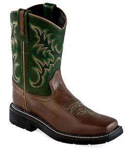 Old West Children's Old West Green/Brown Square Toe Leather Boot