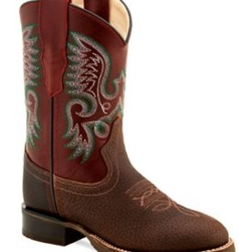 Old West Children's Old West Rust/Brown Round Toe Leather Boot