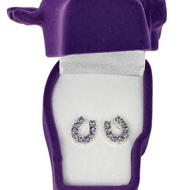 WEX Earrings - Purple Rhinestone Horseshoes in Gift Box